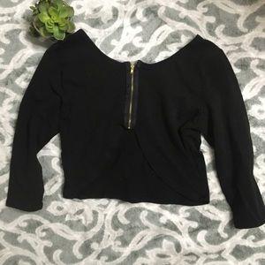 Charlotte Russe Women's black 3/4 sleeve crop top